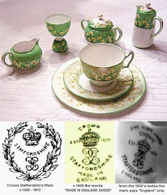 Crown Staffordshire Pottery Marks - Antique Bone China Query