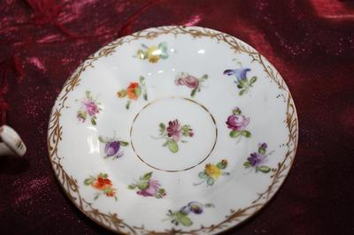 saucer - Demi Cup  F&M7 and Blue scrolled N over Dresden
