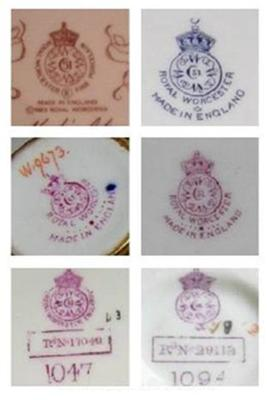 How to Date Royal Worcester Pottery Marks Query