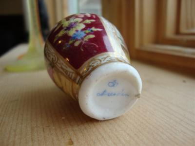 Identify Pottery/Porcelain Mark -Two miniature vases - Dresden or not ?
