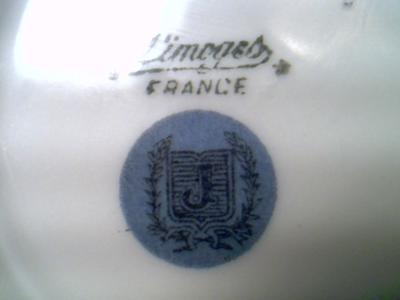 Limoges Ashtray -  'J' pottery mark within a shield within a wheat wreath within a circle