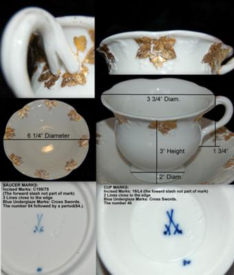 Meissen Mark & Dating Query - Cup and Saucer Collage