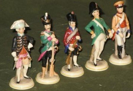 soldier figurines with N mark and Crown