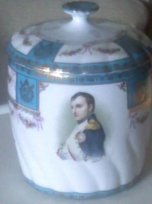 N with Crown Above Pottery Mark Query on Biscuit Barrel Jar with Napoleon Portrait