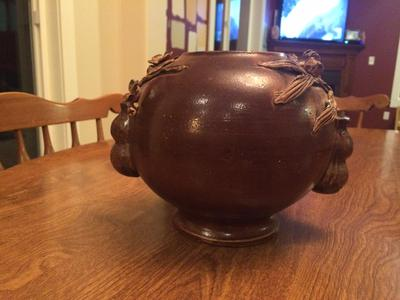 Old Round Brown pottery bowl