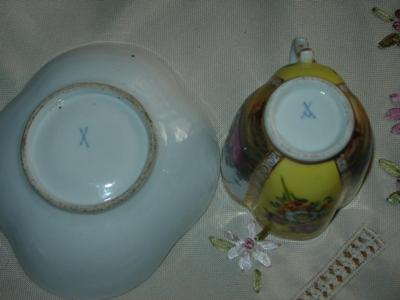 Origin of a nice fluted tea set showing crossed swords with one hilt or a 'Y' shape