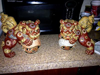 Pair of Japanese  Ornate Oriental Red & Yellow Foo Dogs (lions)