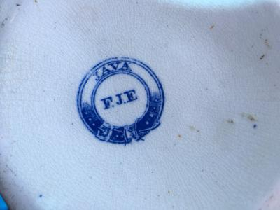 Please help ID a Garter type mark with F.J.E on large transferware jug.