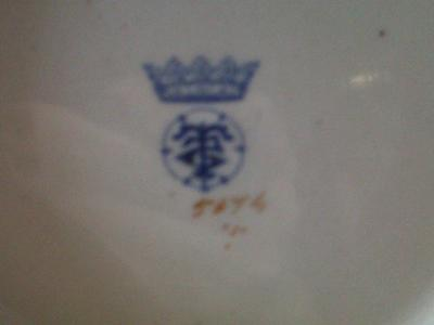 Pottery Mark Query - Blue 5 point crown with T symbol inside circle underneath and number 5074