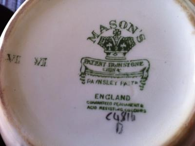 Pottery mark query - Mason's Ironstone - Angled Crown Patent Ironstone
