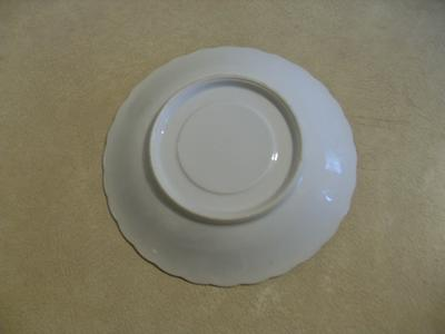 The underside of a saucer